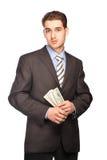 Dubbio dell'uomo con soldi Fotografia Stock Libera da Diritti
