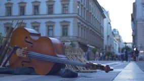 Dubbla Bass Street Music Instrument arkivfilmer