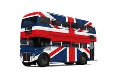 Dubbla Decker Bus Britain Flag Arkivbilder