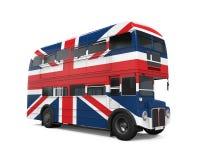 Dubbla Decker Bus Britain Flag Arkivfoton