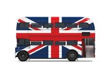 Dubbla Decker Bus Britain Flag Fotografering för Bildbyråer