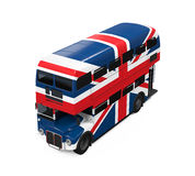 Dubbla Decker Bus Britain Flag Royaltyfria Bilder