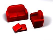 dubbla enkla sofas Arkivfoton