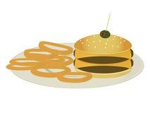 dubbla lökcirklar för cheeseburger stock illustrationer
