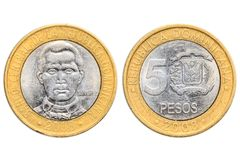 Dubbla pesos för dominikan fem royaltyfria bilder