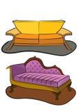 dubbla sofas Arkivbilder