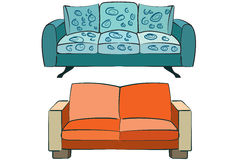 dubbla sofas royaltyfri illustrationer