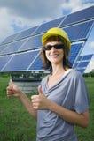 Dubbla tummar upp för sol- energi Arkivfoton