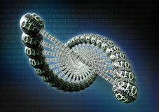 dubble helix dna made out of binary code Stock Photography