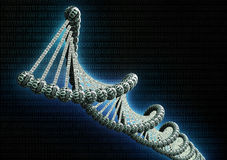 dubble helix dna made out of binary code Stock Photos