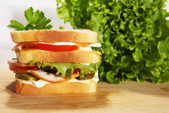 Dubble salami sandwich. Dubble hum and salami sandwich on wood table with green lettuce Stock Image