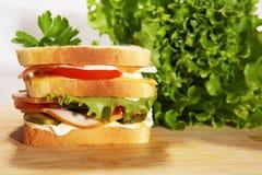 dubble salamismörgås Fotografering för Bildbyråer