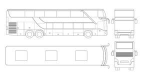 Dubblett-däck mång--axel lyxig turnera lagledare Kommersiellt medel Intercity bussvektorillustration royaltyfri illustrationer