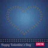 Dubblett-sydde sömsrosa färger för jeans hjärta Arkivbilder