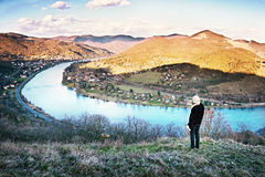 2016-03-29 - Dubicky, Tsjechische republiek - rivier Labe van de Doerell-mening in Ceske-stredohorigebied aan het begin van de to Royalty-vrije Stock Foto's