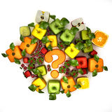 Dubious, fruit. 3D rendering of a selection of cubic fruits surrounding a question mark Stock Photo