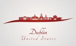 Dublín, horizonte de CA en rojo Imágenes de archivo libres de regalías