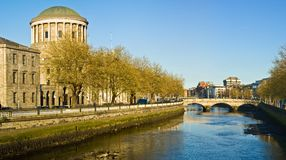 Dublin. Fourt Court and Liffey River in Dublin, Ireland stock images