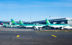 Dublin airport , Ireland. Dublin, Ireland - 01 February, 2015: Aer Lingus planes lined up at Terminal 2 at Dublin Airport Ireland royalty free stock photos