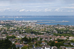 Dublin bay. Dublin and DunLaoghaire port from above stock photo