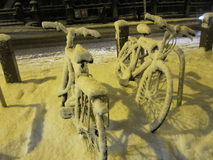 Dublin bicycles in the snow Stock Photo