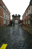 Dublin castel. Entrance its paving stone drive and brick buildings Stock Images