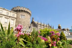 Dublin Castle. From Dubh Linn gardens on a sunny spring day, Dublin, Ireland Stock Image