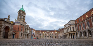 Dublin Castle. Dublin, Ireland - November 07, 2016: Panoramic shot of the inner yard of the Dublin Castle Royalty Free Stock Photography