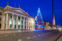 Dublin at Christmas. A Christmas Tree on O'Connell Street in Dublin beside the General Post Office at dawn Stock Photos