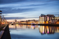 Dublin City Center during sunset Stock Photo