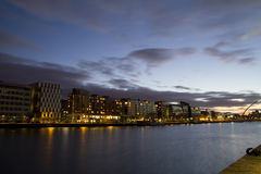 Dublin City At Night. This is a view up the Liffey from the Dublin Docklands, this is close to the end of the liffey, the point where the river meets the sea Royalty Free Stock Photo