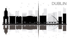 Dublin City skyline black and white silhouette with reflections. Stock Image