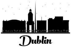 Dublin City skyline black and white silhouette. Stock Image