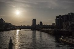 Dublin City Skyline. Taken From IFSC royalty free stock image