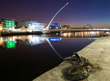 Dublin Docklands by Night. The Samuel Beckett Bridge across the river Liffey in Dublin Docklands Stock Photo