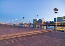 Dublin Docklands by Night. Looking across the River Liffey in Dublin on a clear evening Stock Images