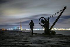 Dublin Docks, faro de Poolbeg Fotos de archivo libres de regalías