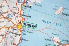 Dublin em um mapa Fotos de Stock