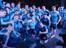 Dublin GAA Football Team Homecoming 18th September 2017. Dublin Players with the Sam Maguire Cup at the Dublin GAA Football Team Homecoming Monday 18th September Royalty Free Stock Photography