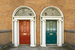 Dublin georgian doors. Dublin red and blue doors in Georgian architecture Royalty Free Stock Images