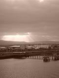 Dublin Harbor i Sepia Arkivbild