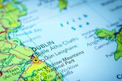 Dublin i Irland på en översikt Royaltyfri Bild