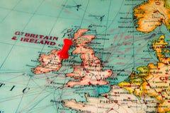 Dublin, Ierland op uitstekende kaart van Europa wordt gespeld dat Royalty-vrije Stock Fotografie