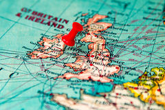Dublin, Ierland op uitstekende kaart van Europa wordt gespeld dat Royalty-vrije Stock Foto's