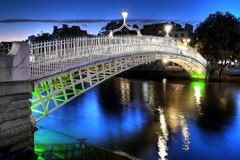 Dublin, Ireland. The ha'penny bridge in Dublin, Ireland, at night Stock Photography
