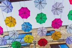 Colorful umbrellas art installation in frot of the Zozimus bar i. DUBLIN, IRELAND - April 14th, 2018: colorful umbrellas art installation in frot of the Zozimus Stock Photography
