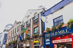 Pubs in the Temple Bar neighbourhood of Dublin city centre. DUBLIN, IRELAND - April 12th, 2018: pubs in the Temple Bar neighbourhood of Dublin city centre, the Stock Photos