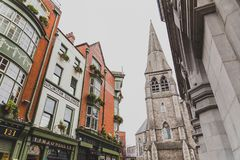 The St Andrews Church area in Dublin city centre near the Molly. DUBLIN, IRELAND - April 12th, 2018: the St Andrews Church area in Dublin city centre near the Stock Photography