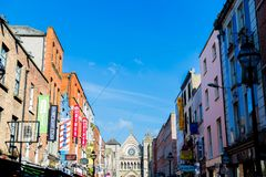 View of Anne Street in DUblin city centre with pubs and restaur. DUBLIN, IRELAND - April 14th, 2018: view of Anne Street in DUblin city centre with pubs and Stock Photo