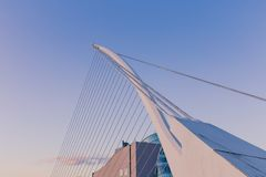 View of Dublin`s famous Samuel Beckett Bridge over the river Lif Royalty Free Stock Photos